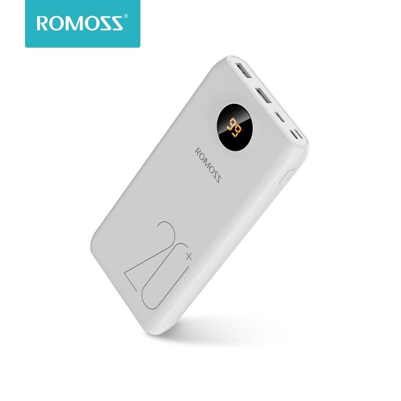 20000 мАч ROMOSS SW20 Pro Портативный запасные аккумуляторы для телефонов зарядное устройство Внешний батарея QC3.0 Быстрая зарядка со светодиодный