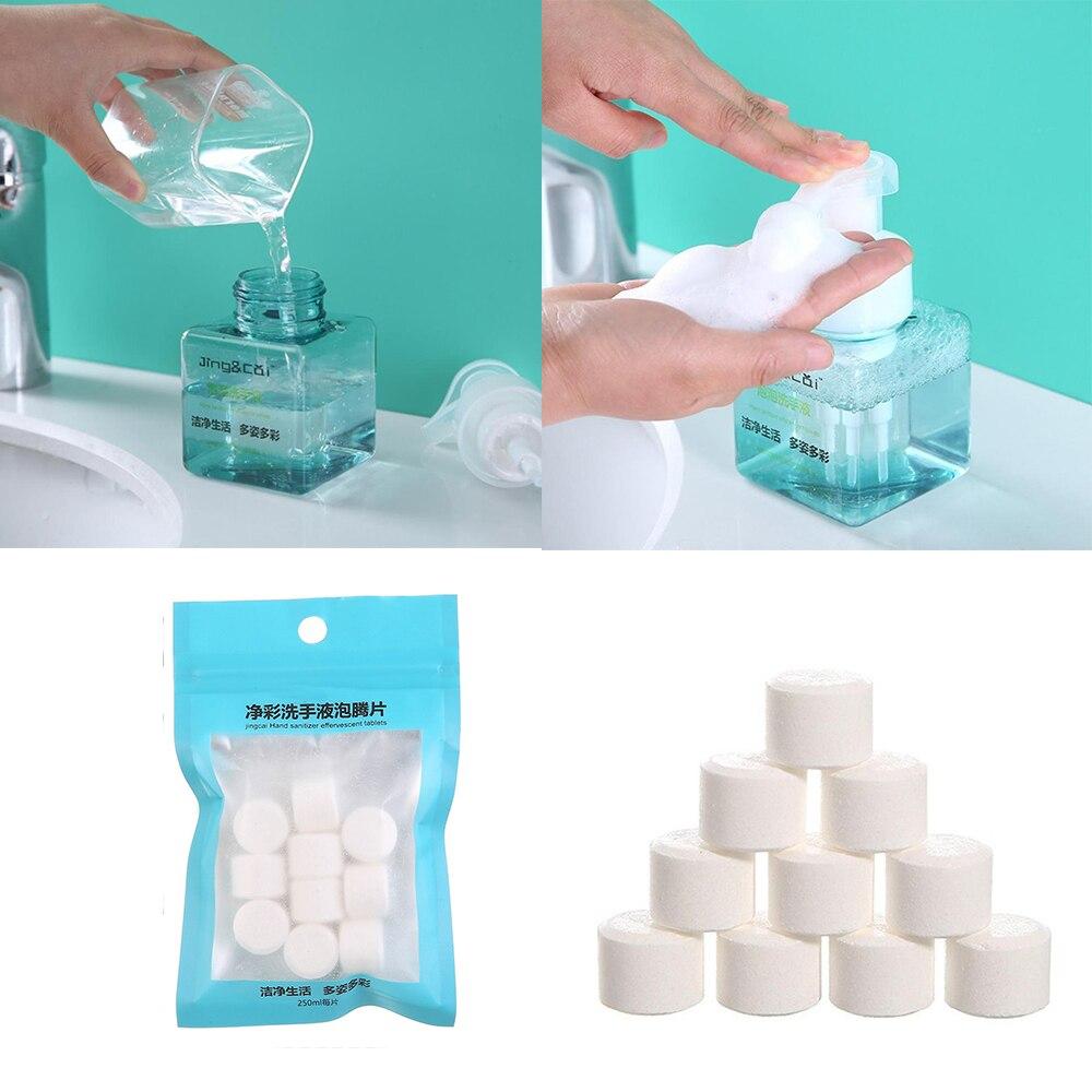 10 pçs instantânea lavagem de mão espuma diy natural espuma de espuma desinfetante de mãos comprimidos efervescentes antibacteriano desinfetante comprimidos de limpeza