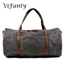 Дорожная сумка для путешествий, вощеная парусина водонепроницаемая сумка на выходные