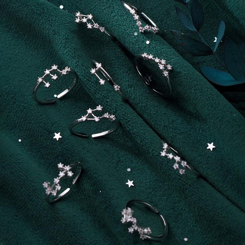 MIQIAO 925 Sterling Silver Female Rings Women Sagittarius Scorpio Aquarius Capricorn Pisces Libra Taurus Gemini Cancer Virgo Leo