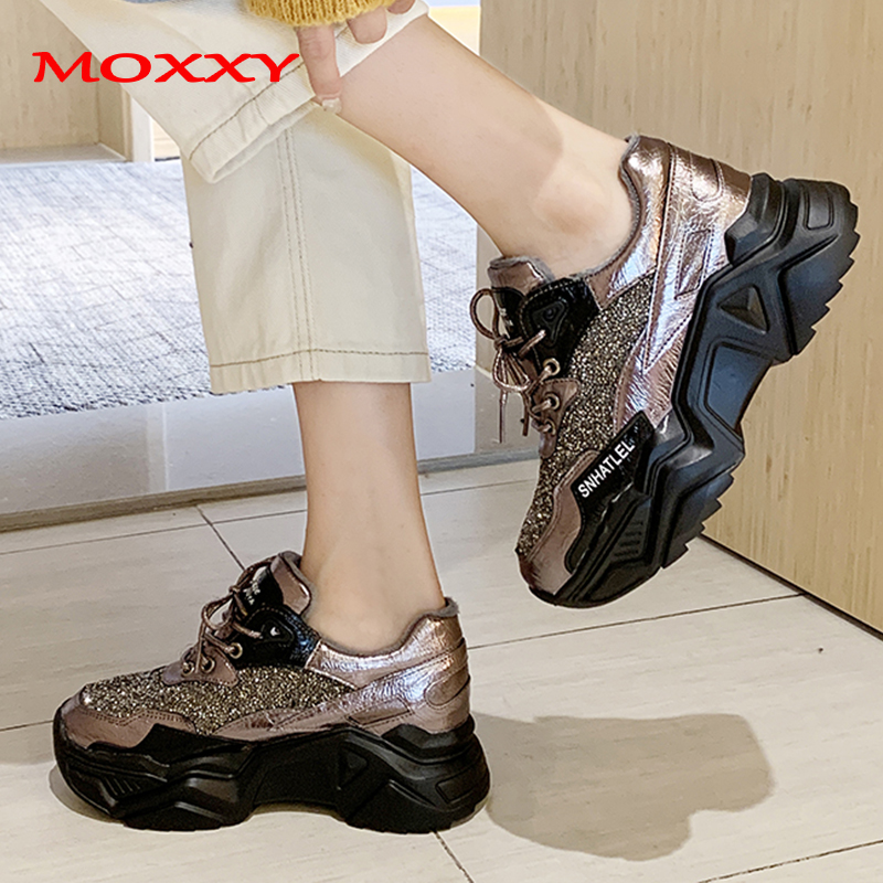 2019 New Designer Winter Sneakers Women Brand Luxury Glitter Crystal Sneakers Female Chunky Sneakers Fashion Casual Shoes Woman