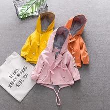 Новое платье для маленьких девочек; для младенцев; куртка пальто с капюшоном 6M-3 Старая Одежда для новорожденных на весну осень 9BA025