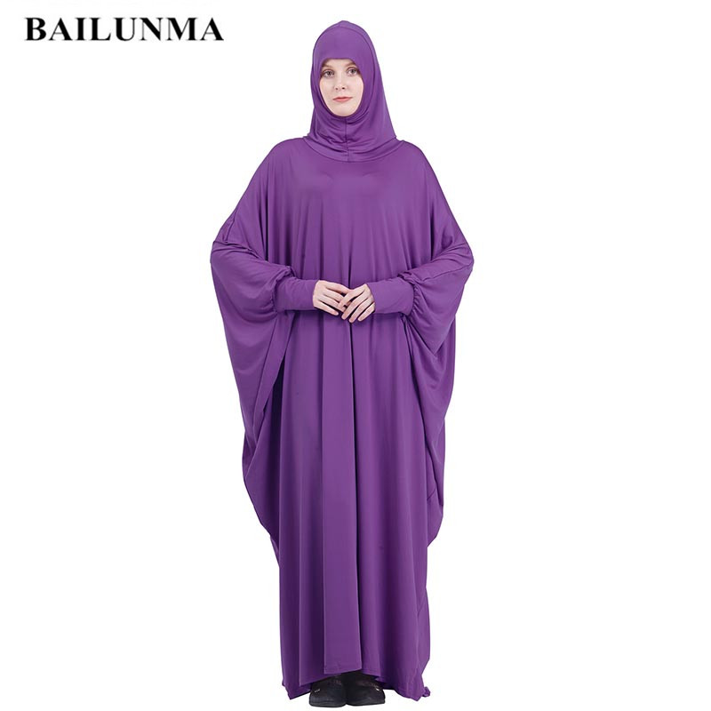 Fashion Muslim Women Hijab Dress Full Cover Hooded Abaya Long Maxi Dress Islam Prayer Purple Xxl