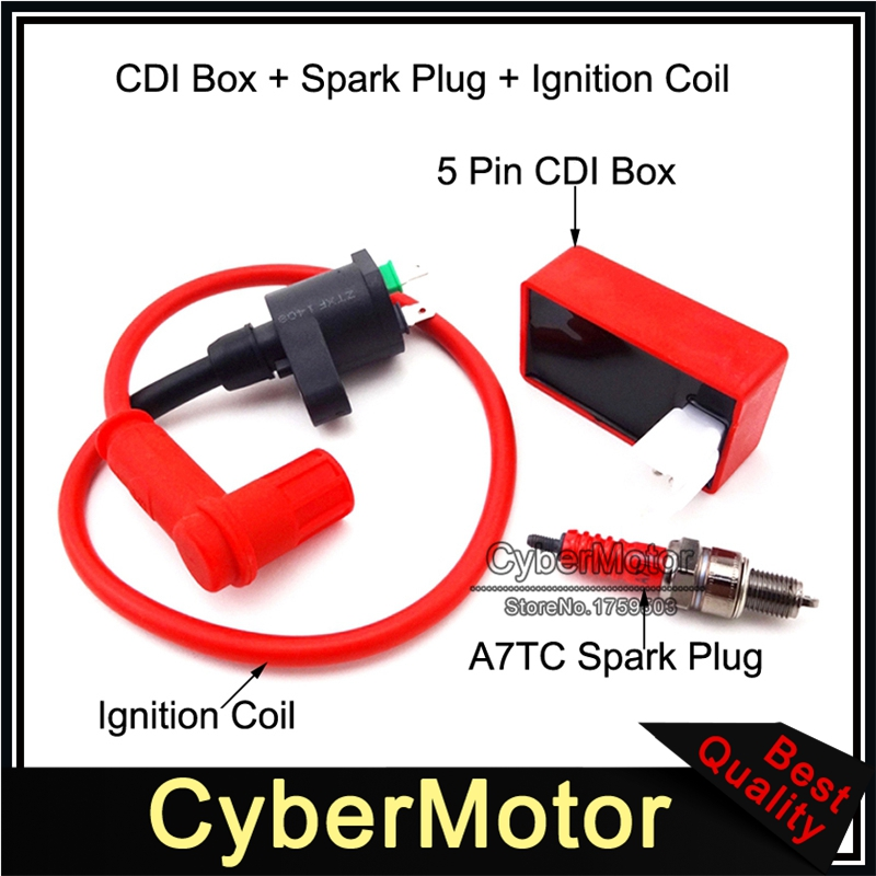 50-160cc 4-stroke ATVs Pit Dirt bikes USA 5-pins CDI+Ignition Coil+Spark Plug