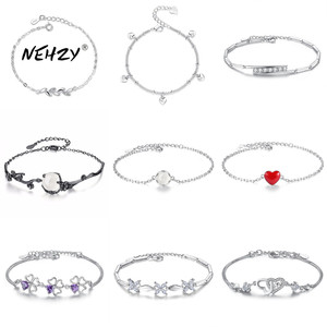NEHZY 925 sterling silver new jewelry fashion high-quality woman cubic zirconia retro heart-shaped flower bracelet 17 styles