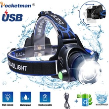 LED Headlights Lamp Fish Rechargeable Waterproof Outdoors 18650 8000lm for Hard-Hat