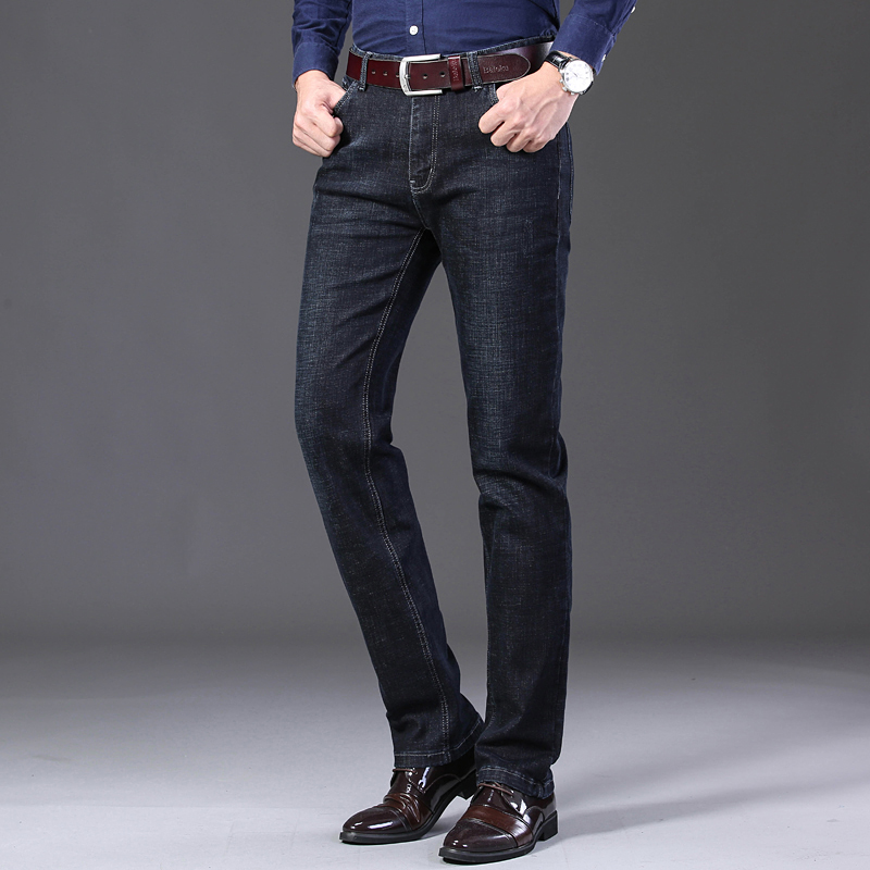 KSTUN Winter Jeans Men Black Jeans Business Casual Classic Direct Straight Long Trousers Businessman Gentlemen Denim Jeans Men 12