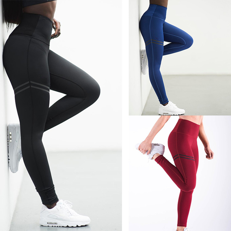 Female High Elastic Fitness Leggings Black Push Up Workout Pants Women Casual Pants Striped Printed Training Trousers Plus Size