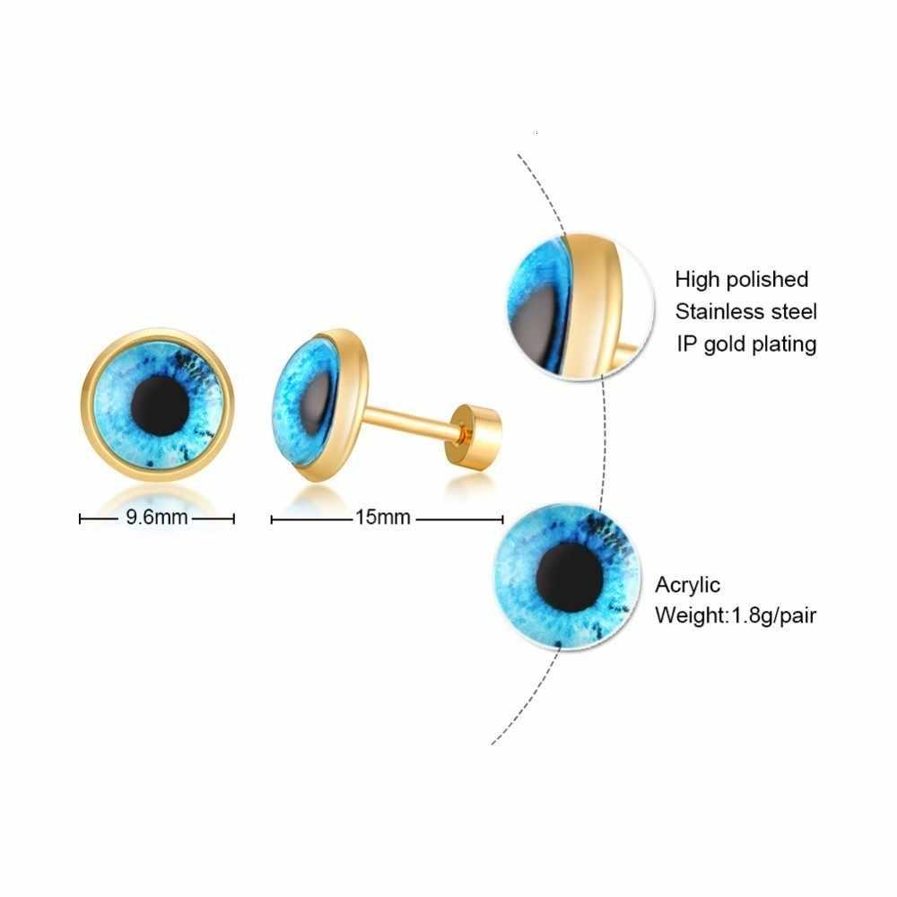 Boucles d'oreilles grecques mauvais œil bleu Protection spirituelle boucles d'oreilles rondes pour femmes bijoux en acier inoxydable turc Brincos
