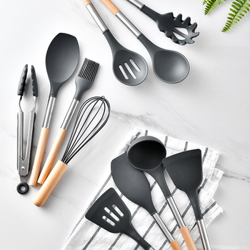 10/11PCS Silicone Kitchenware Non-stick Cookware Cooking Tool Spatula Ladle Egg Beaters Shovel Spoon Soup Kitchen Utensils Set 2