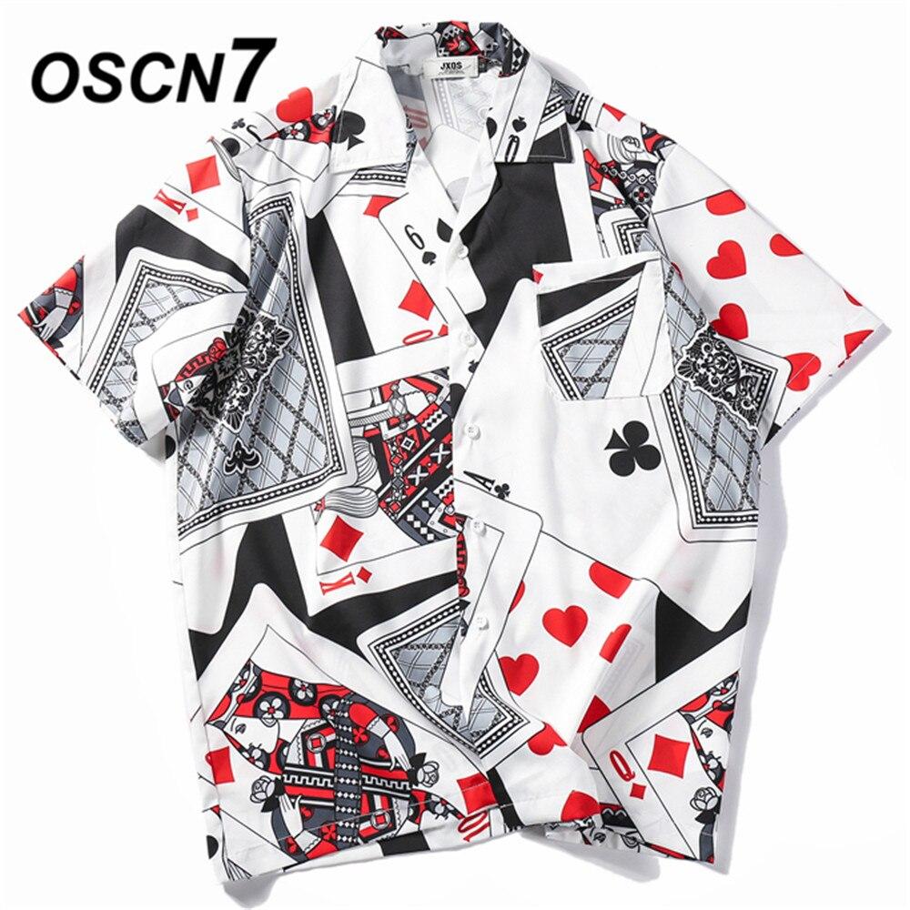 OSCN7 Casual Printed Short Sleeve Shirt Men Street 2020 Hawaii Beach Oversize Women Fashion Harujuku Shirts For Men XQ36