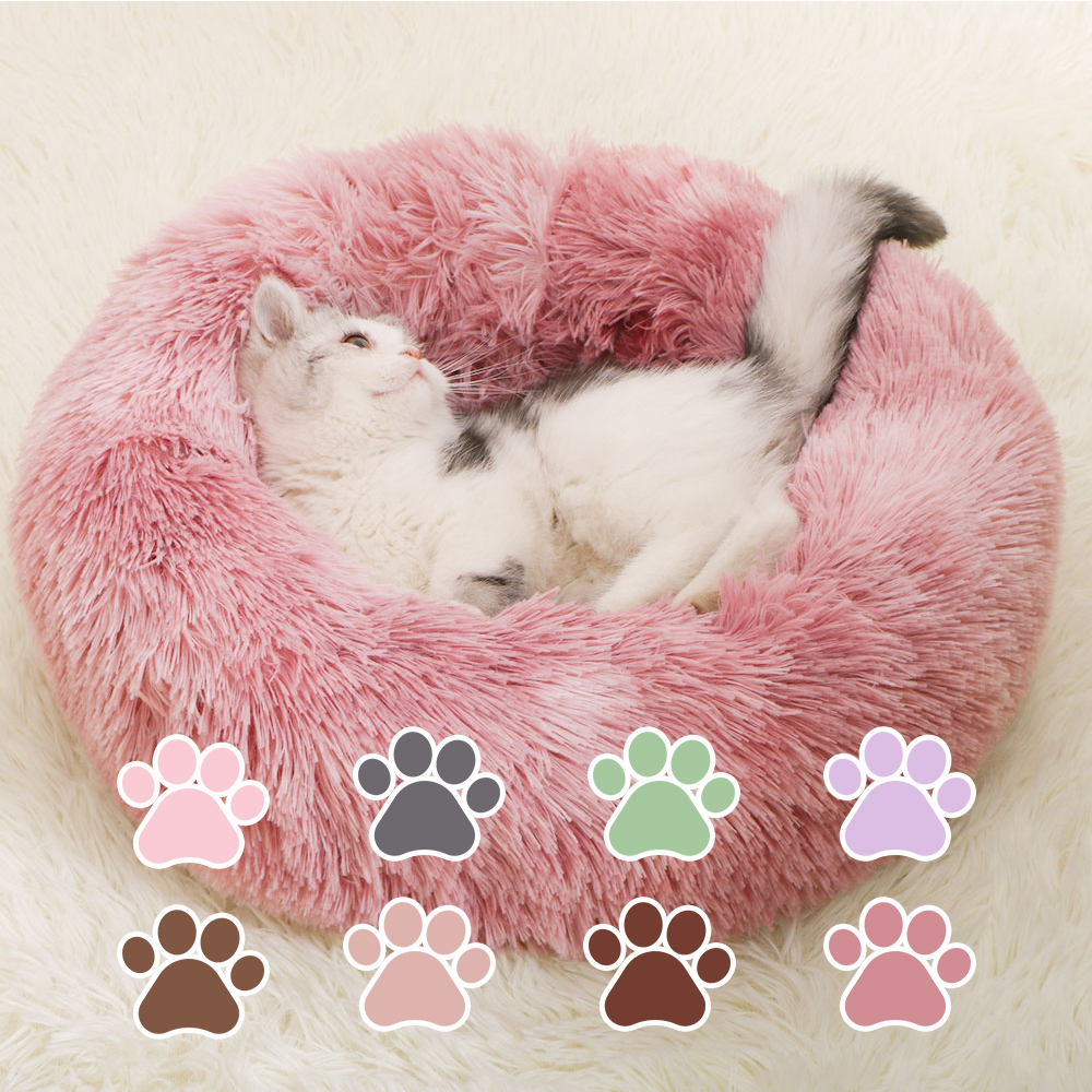 40/50/60/70cm Round Plush Macaron <font><b>Cat</b></font> <font><b>Bed</b></font> <font><b>House</b></font> Waterproof Soft Pet <font><b>Cat</b></font> Sleeping Nest Mat Warm Dog <font><b>Cat</b></font> Basket Cushion image