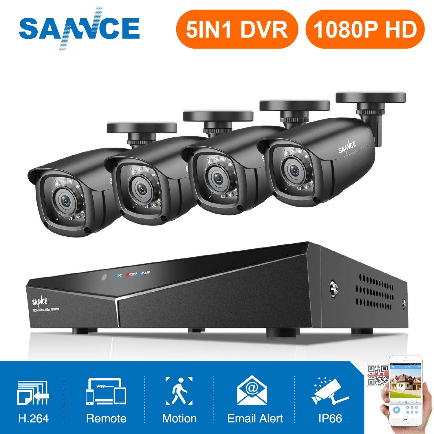 SANNCE HD 8CH CCTV System 1080P HDMI DVR 2.0MP CCTV Security Camera 4PCS 1080P IR Outdoor Camera Video Surveillance Kit