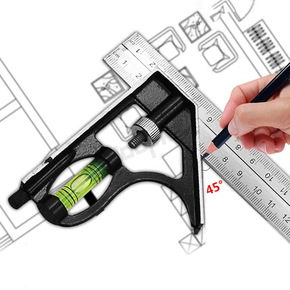Régua de metal quadrada de combinação de 300mm, régua de ângulo horizontal de 45/90 graus, aço inoxidável, ferramentas de carpintaria, régua