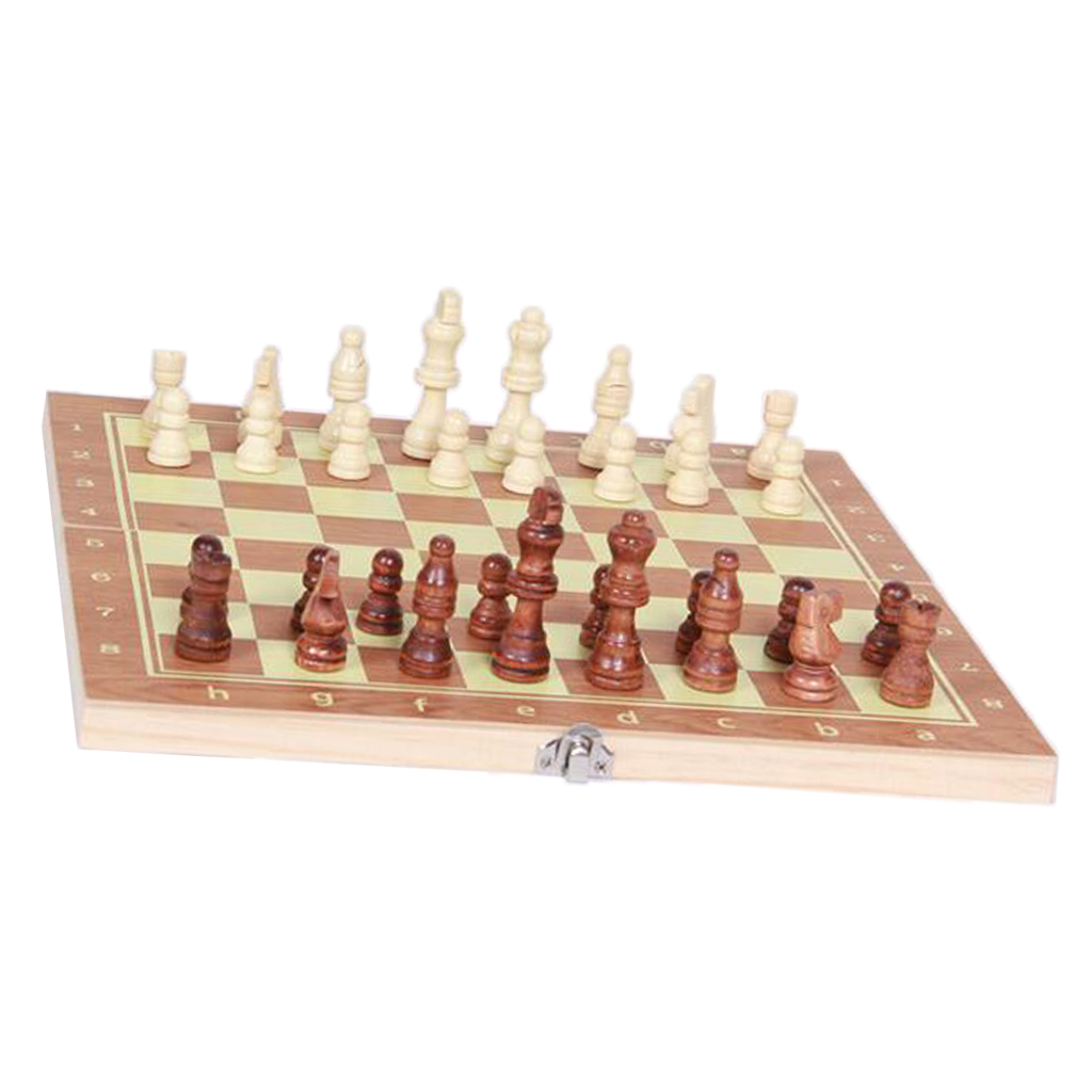 BACKGAMMON /& CHECKERS 3 in 1 Hand Crafted Wooden Foldable 29x29 cm Chess