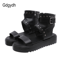 Gdgydh 2020 Thick Platfom Women Sandals Open Toe Flat Heels Female Shoes In Summer Simple Style Rivets Buckle Sandals Size 35-40 women s summer sandals fashion party open toe heels shoes female classic belt buckle wedge shoes plus size 43