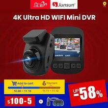 (11.11 code:11112020ES3)Junsun Cámara de salpicadero S66 con WiFi para coche, grabadora, DVR, 4K, 2160P, Ultra HD, Monitor de estacionamiento, visión nocturna, NTK 96660