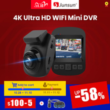 Junsun S66 WiFi רכב DVR 4K 2160P Ultra HD מקליט דאש מצלמת Dashcam חניה צג ראיית לילה Ntk 96660 וידאו מעקב