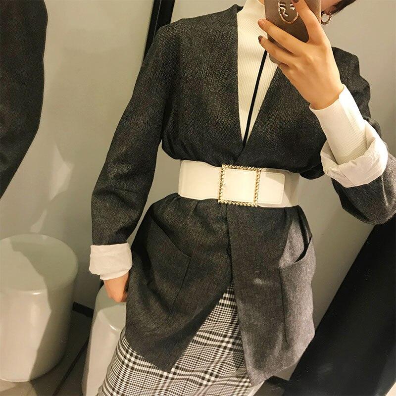 White Pu Leather Metal Buckle Diamond Waist Belt Women Fashion Winter Loose Waist Belt Korean Style Clothing Accessories