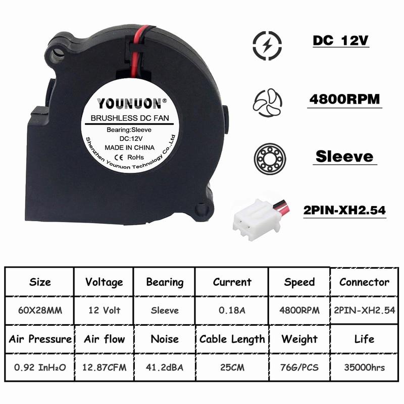 2 шт. бесщеточный охладитель охлаждения DC веер для центробежного дутьевого вентилятора 60 мм 12 в 24 В 2Pin 60x28 мм 6028 6 см рукав двойной шар радиатора - Цвет лезвия: 12V Sleeve