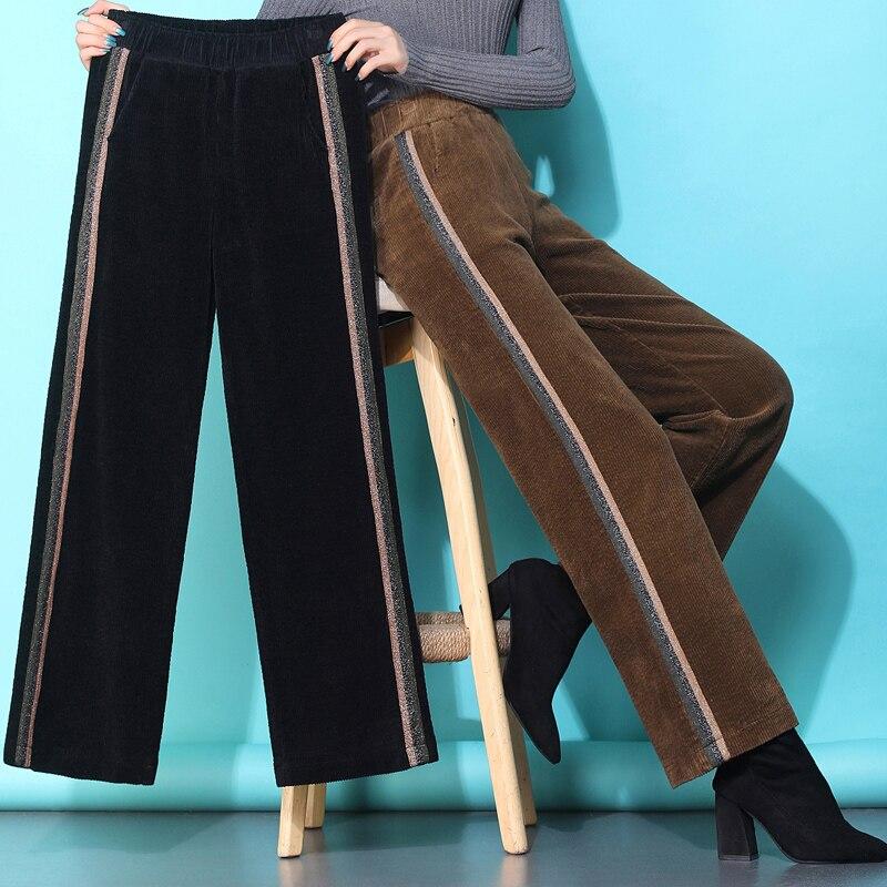 S-4XL Autumn Corduroy   Pants   For Women Solid Color Loose Women's Trousers New Plus Size   Pants   Women High Waist   Wide     Leg     Pants