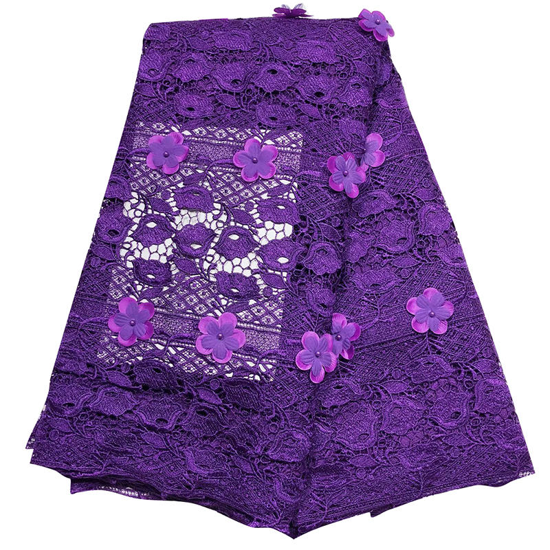 African 3D Flower Tulle Lace Fabric 2020 High Quality Hollow French Tulle Lace Tissu With Beaded African Evening Dress For Women