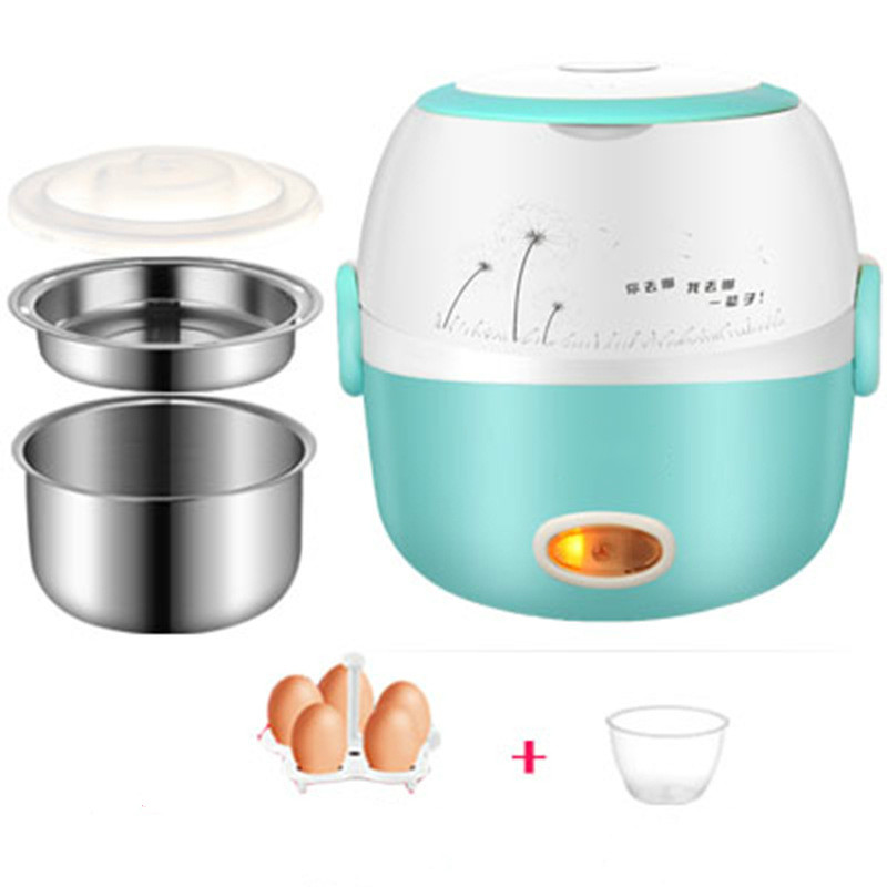 MINI Rice Cooker Insulation Heating Electric Lunch Box 2 Layers Portable Steamer Multifunction Automatic Food Container EU