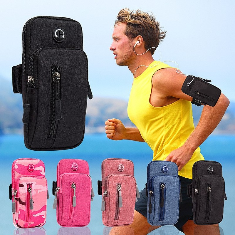 running - Running Men Women Arm Bags for Phone Money Keys Outdoor Sports Arm Package Bag with Headset Hole Simple Style Running Arm Band