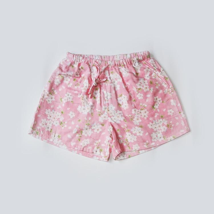 Летние женские Пижамные шорты, хлопковые газовые пижамы, штаны с принтом, штаны для сна, одежда для сна, женская одежда для сна - Цвет: Cherry blossom pink