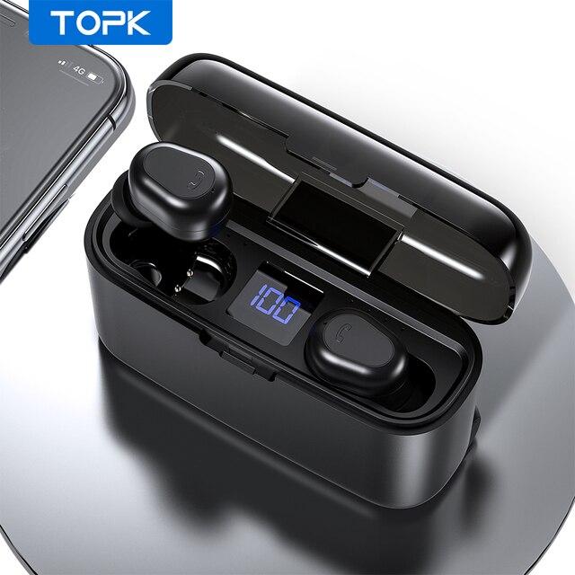 Topk Draadloze Hoofdtelefoon Tws Bluetooth 5.0 Oortelefoon IPX5 Waterdichte Stereo Oordopjes Sport Koptelefoon Headsets Voor Iphone Xiaomi