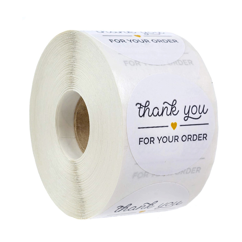 Round Paper Thank You For Your Order Sticker 500pcs Thanks For Shopping Small Shop Local Handmade Sticker White Label Stickers