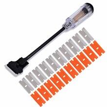 EHDIS rascador adhesivo de vinilo para coche, película de lámina de fibra de carbono con 20 Uds. De hoja, escurridor, herramienta de limpieza con pegamento de vidrio y tinte de ventanilla