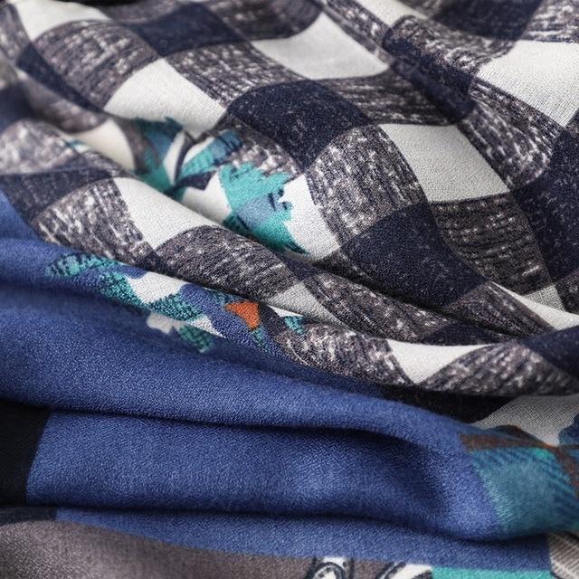 Купить шарф женский всесезонный из хлопка и льна длинный шаль в клетку картинки цена