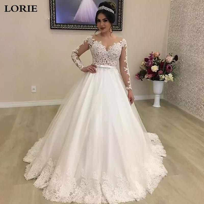 LORIE Princess Wedding Dresses Long Sleeve Appliqued Lace Ball Gown Bride Dress Illusion Back  Vestidos De Novia