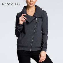 2019 New Casual Womens Comfortable Sweatshirt CHUQING Brand Diagonal Zipper Autumn and Winter Fashion Jacket