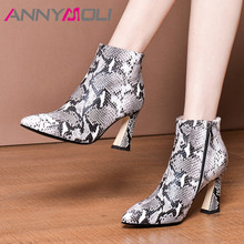 ANNYMOLI Autumn Ankle Boots Women Natural Genuine Leather Extreme High Heel Short Boots Snake Print Zipper Shoes Lady Size 34-39 цены онлайн