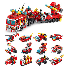 Fire Fighting Trucks Building Blocks City Fire Fighting Trucks City engine helicopter model bricks children Toys Dropshipping building blocks city police station swat model fire fighting friends fingure bricks educational toys for children