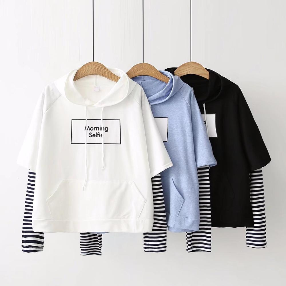 New Fashion Spring Autumn Women Sweatshirt Fashion Striped Sleeve Patchwork Casual Hoodies Harajuku Sweatshirts