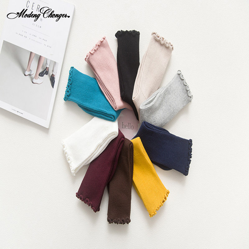 1 Pair Solid Color College Wind Long Women Comfortable Harajuku Socks Leisure Spring And Autumn Cotton Wood Ear Lace Mid