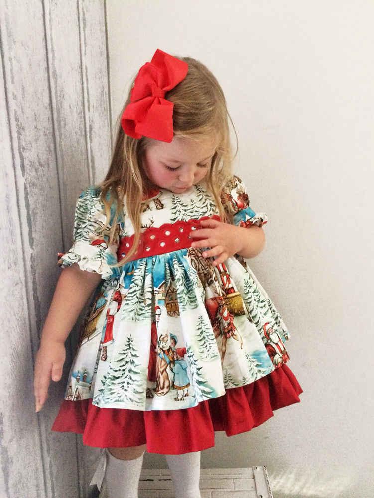 Pudcoco Robe De Noel Avec Manches Evasees Adorable Robe De Noel Pour Bebes Filles Fete De Noel Pere Noel Adorable 2 6t Aliexpress