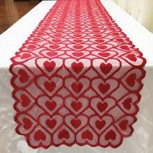 Mantel Vintage para boda mantel bordado corazón mantel cubierta de tela para mesa de comedor mesa de centro para el hogar