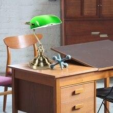 Ретро промышленная Классическая E27 banker настольная лампа зеленое стекло абажур крышка с выключателем настольные лампы для спальни Кабинета чтения