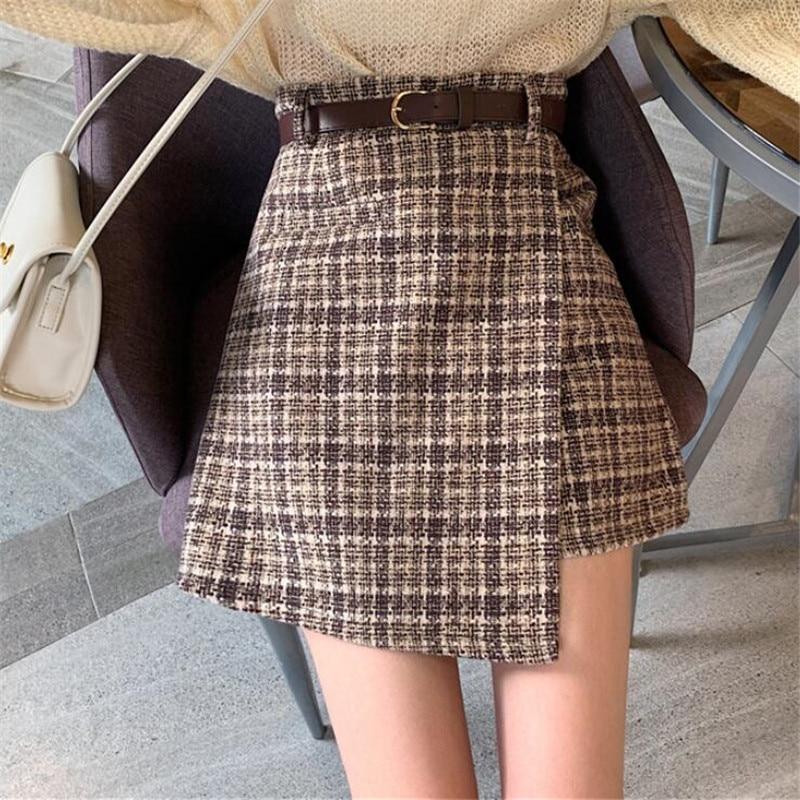 Elegant Mini Skirts Womens 2020 Spring Autumn Irregular Short Skirts winter Women High Waist Woolen Belt Stitching Skirts