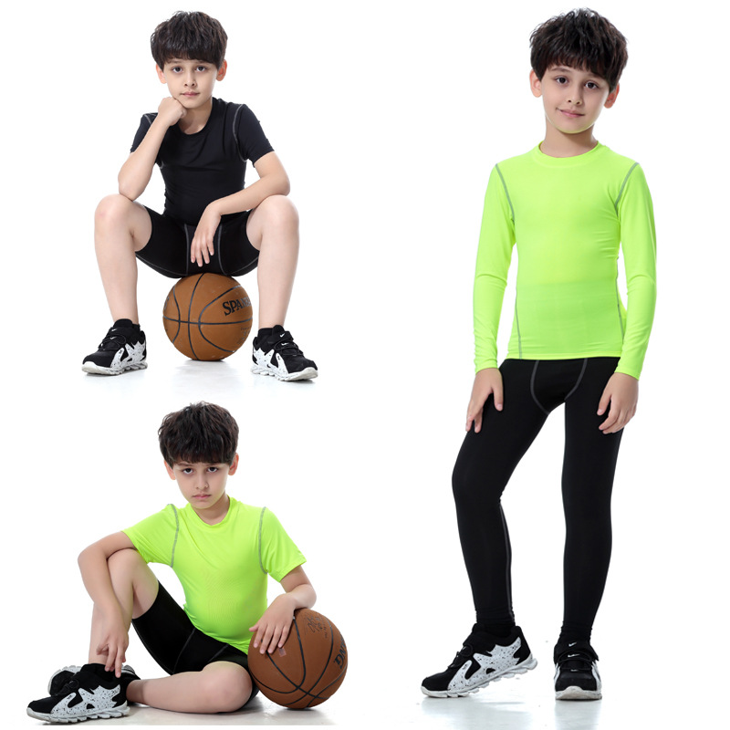 kids child boy girl sporti suit basketball running jogger workout gym set sportswear quickly dry elastic legging sweatshirt+pant
