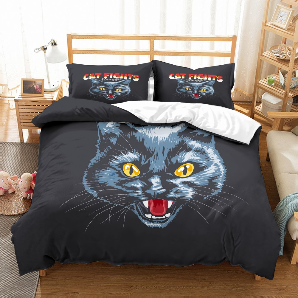 3D Cat Fights Print Duvet Cover Kids/Adults Bedding Set 2/3PCS Microfiber Soft Pillowcase Queen King Size Bedspread Bed Sets