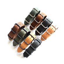 Handmade Retro Crazy Horse Leather Strap 20 /22MM Soft NATO Nato Male Diving Watch Leather Strap nato strap 22mm 22mm watch band uyoung handmade watch strap custom fit the fat sea pa441 watch retro make old ox leather watch belt male