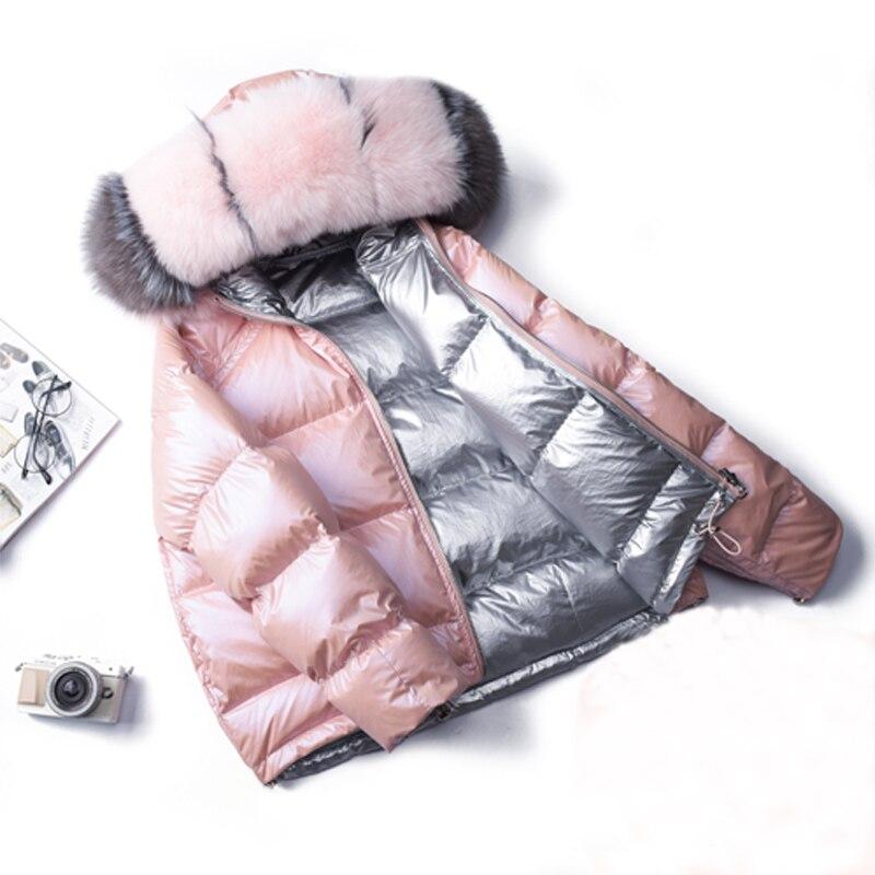 2020 Winter Jacket Women White Duck   Down   Jacket Big Artificial Fox Collar Hood Outwear Waterproof Loose   Coat   Thick Warm   Down