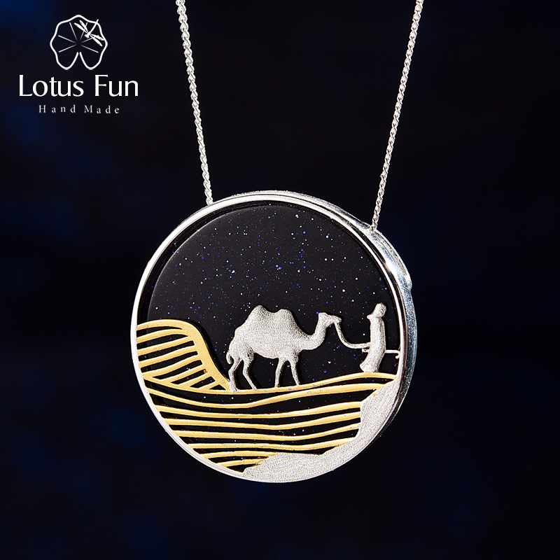 Lotus Fun Starry Desert Nights 18K Gold Pendant Without Necklace Real 925 Sterling Silver Handmade Fine Jewelry For Women Gift