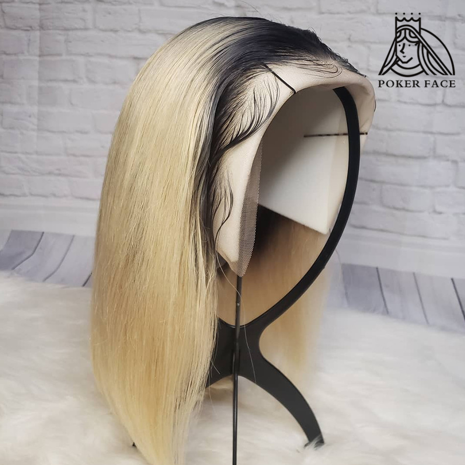 Poker Face Straight T/1B 613 Blonde 13x6 Lace Front Wigs  Short Bob Lace Front Wigs Brazilian Human Hair Wigs 150 Density Remy