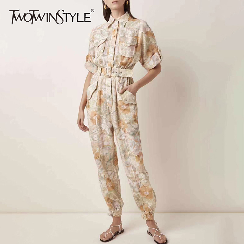 TWOTWINSTYLE Casual Print Hit Color Jumpsuits For Female Lapel Collar Short Sleeve High Waist With Sashes Jumpsuit Women Fashion